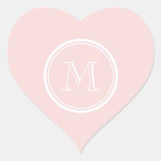 Parte alta rosa pálido monograma colorido adesivos de corações