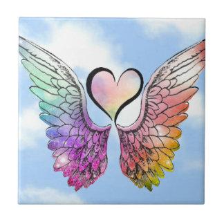 Parte - asas do anjo, coração e fundo da nuvem azulejo de cerâmica