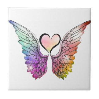 Parte - asas e coração do anjo azulejo quadrado pequeno