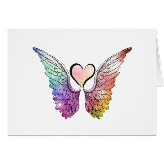 Parte - asas e coração do anjo cartão comemorativo