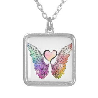 Parte - asas e coração do anjo colar com pendente quadrado