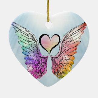 Parte - asas e coração do anjo ornamento de cerâmica coração