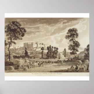 Parte da cidade e do castelo de Ludlow em Shropshi Poster