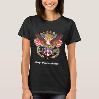 Parte dianteira patriótica das mulheres somente tshirt