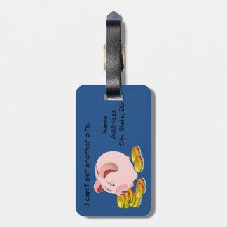 Parte superior do entalhe de moeda do mealheiro tags de mala
