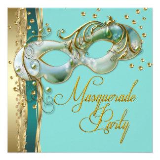Partido azul do mascarada da cerceta de turquesa d convites personalizado