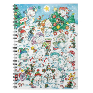 Partido bonito do pinguim do urso polar do Natal Cadernos Espirais