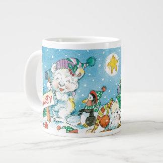Partido bonito do pinguim do urso polar do Natal Caneca De Café Gigante