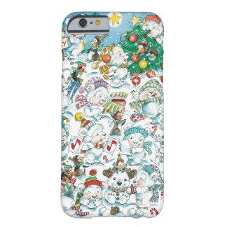 Partido bonito do pinguim do urso polar do Natal Capa Barely There Para iPhone 6