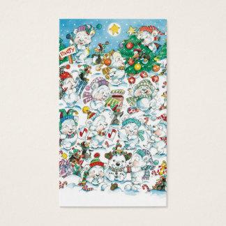 Partido bonito do pinguim do urso polar do Natal Cartão De Visitas