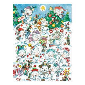 Partido bonito do pinguim do urso polar do Natal Cartão Postal