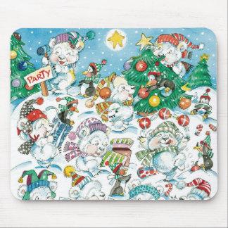 Partido bonito do pinguim do urso polar do Natal Mouse Pad