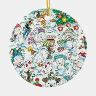 Partido bonito do pinguim do urso polar do Natal Ornamento De Cerâmica Redondo