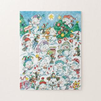 Partido bonito do pinguim do urso polar do Natal Quebra-cabeças