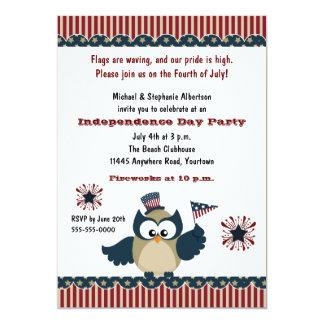 Partido da coruja de Dia da Independência Convite 12.7 X 17.78cm