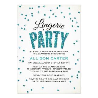 Partido da lingerie dos confetes do olhar do convite personalizado