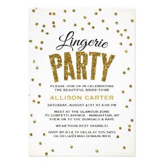 Partido da lingerie dos confetes do olhar do convite