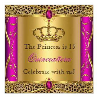 Partido da princesa Régio Cor-de-rosa Leopardo Convite Quadrado 13.35 X 13.35cm