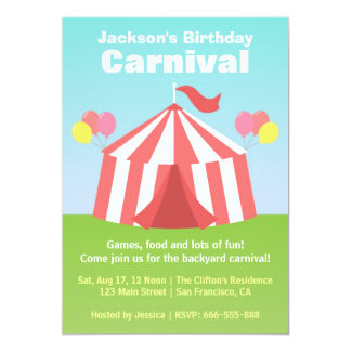 Partido de aniversário de criança - carnaval feliz convite 12.7 x 17.78cm