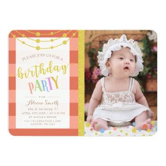 Partido de aniversário de criança Glam Convite 12.7 X 17.78cm