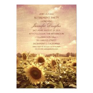 Partido de aposentadoria floral do campo rústico convite 12.7 x 17.78cm