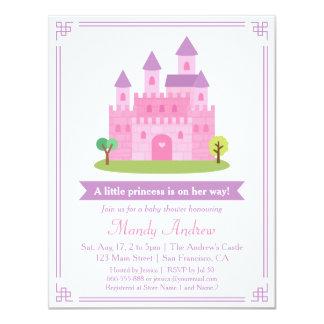 Partido de chá cor-de-rosa moderno do bebé da convite 10.79 x 13.97cm