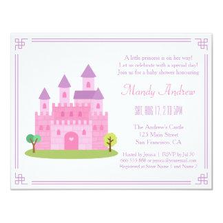 Partido de chá cor-de-rosa real do bebé da convite 10.79 x 13.97cm