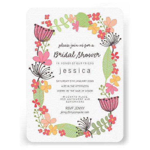 Partido de chá de panela floral rústico da beira convite personalizado