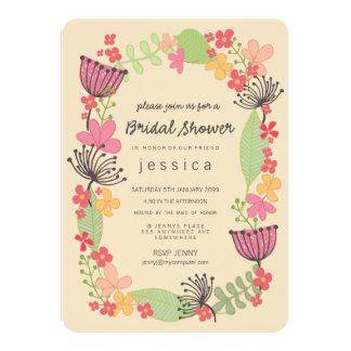 Partido de chá de panela floral rústico da beira convite 11.30 x 15.87cm