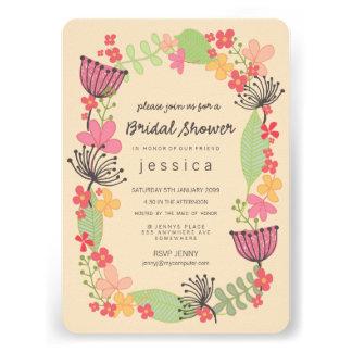 Partido de chá de panela floral rústico da beira convites