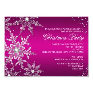 Partido de comensal de cristal do Natal do floco Convite 12.7 X 17.78cm
