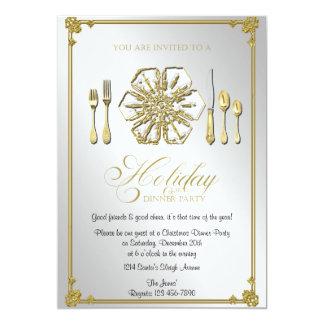 Partido de comensal do feriado do floco de neve do convite 12.7 x 17.78cm