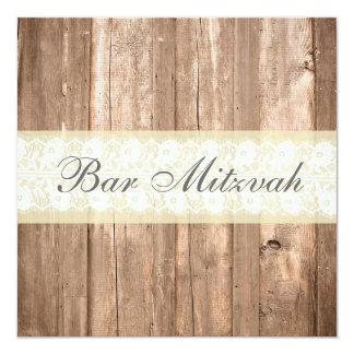 Partido de creme rústico de Mitzvah do bar do Convite Quadrado 13.35 X 13.35cm