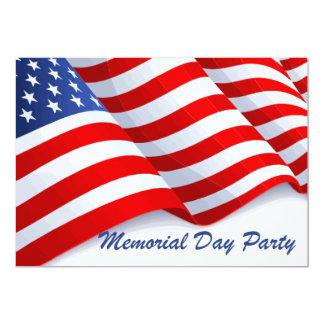 Partido de ondulação do Memorial Day da bandeira Convite 12.7 X 17.78cm