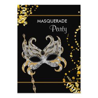 Partido de prata do mascarada do carnaval do ouro convite 12.7 x 17.78cm