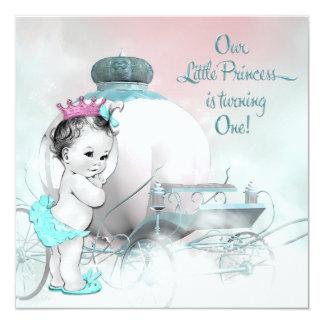 Partido de primeiro aniversario da princesa convite quadrado 13.35 x 13.35cm