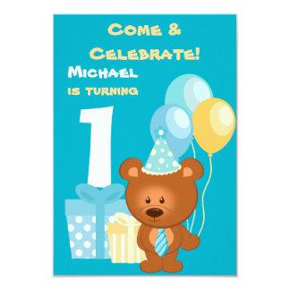 Partido de primeiro aniversario do urso e dos convite 8.89 x 12.7cm