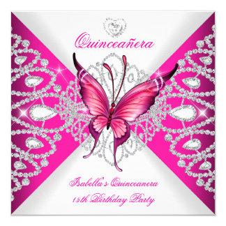 Partido de Quinceanera da tiara cor-de-rosa bonito Convite Quadrado 13.35 X 13.35cm
