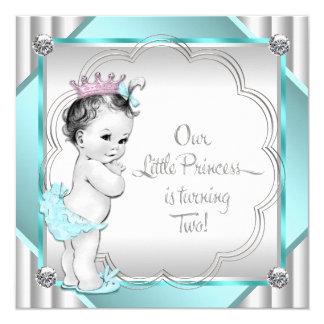 Partido de segundo aniversário azul da princesa da convite quadrado 13.35 x 13.35cm
