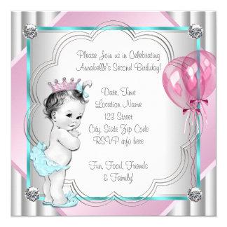 Partido de segundo aniversário azul do rosa e da convite quadrado 13.35 x 13.35cm