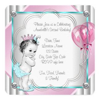 Partido de segundo aniversário da princesa convite quadrado 13.35 x 13.35cm