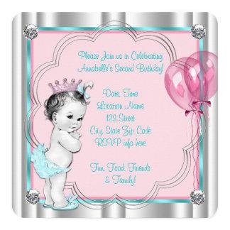 Partido de segundo aniversário do rosa e da convite quadrado 13.35 x 13.35cm