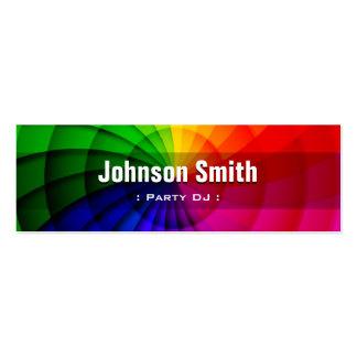 Partido DJ - Cores radiais do arco-íris Cartão De Visita Skinny