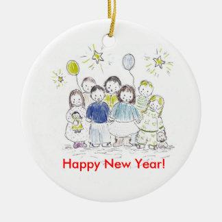 Partido do ano novo ornamento de cerâmica redondo
