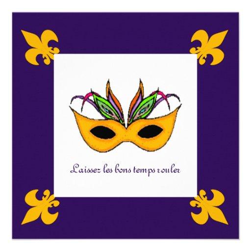 Partido do carnaval da máscara da flor de lis convites personalizados
