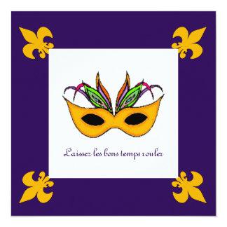 Partido do carnaval da máscara da flor de lis convite quadrado 13.35 x 13.35cm