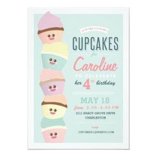 Partido do cupcake de //do convite do aniversário