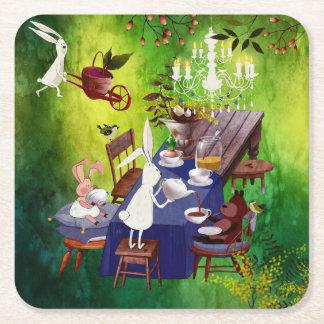 Partido do primavera do coelho na ilustração do porta-copo de papel quadrado