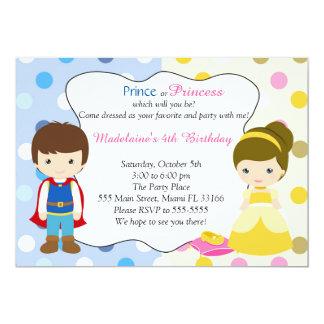 Partido do príncipe princesa Convite Miúdo Birhday