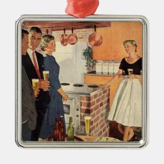 Partido do vintage na cozinha, na cerveja e nos ornamento quadrado cor prata